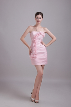 Chic Mini Length Pink Cocktail Dress With Handmade Flowers