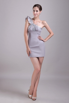 Sexy Silver Grey Cocktail Dress Mini Length