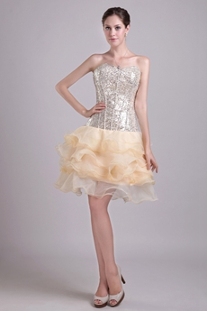 Luxury Champagne Sparkled Damas Dress With Sequins