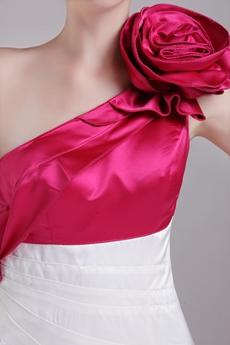 Modern Mini Length White & Fuchsia Satin Wedding Guest Dress