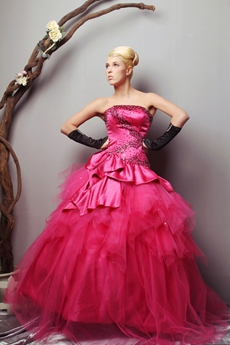 Pretty Strapless Ball Gown Hot Pink Vestidos de Quinceanera Dress