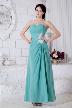 Ankle Length Jade Green Chiffon Bridesmaid Dress