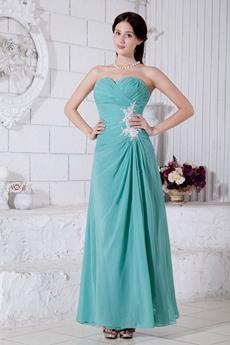 Ankle Length Jade Green Chiffon Bridesmaid Dress
