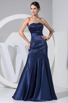 Modest A-line Dark Navy Satin Prom Party Dress