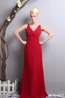 Delicate V-Neckline Red Chiffon Engagement Evening Dress