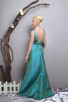 Plunge Neckline A-line Teal Taffeta Mother Of The Bride Dress
