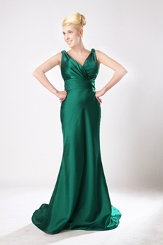 Elegance V-neckline Hunter Green Mother Of The Bride Dress