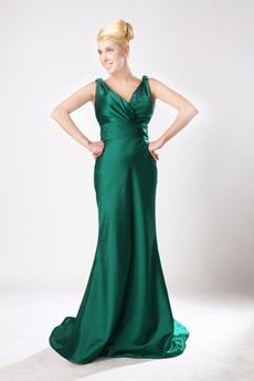 Elegance V-neckline Hunter Green Mother Of The Bride Dress