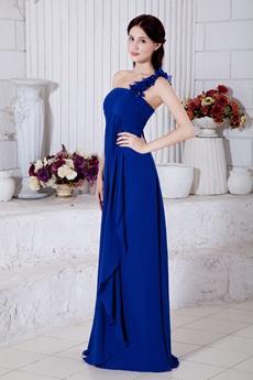 Decent One Straps A-line Royal Blue Chiffon College Graduation Dress