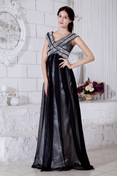 V-neckline Silver & Black Prom Dress
