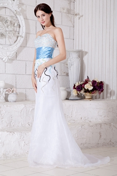 Luxurious Beaded Prom Dress With Blue Sash