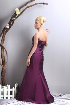 Graceful A-line Grape Taffeta Formal Evening Dress