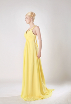 Pretty V-Neckline A-line Daffodil Chiffon Formal Evening Dress