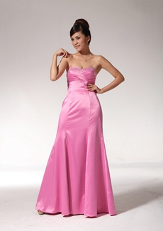 Dipped Neckline Hot Pink Satin Prom Dress