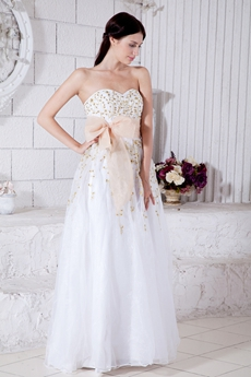 Pretty White Organza Princess Quince Dress With Gold Embroidery
