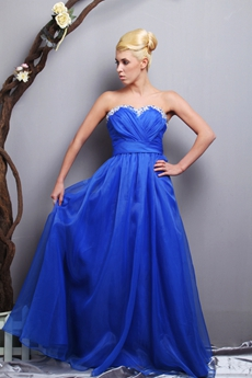 Stunning Royal Blue Organza Princess Quinceanera Dress