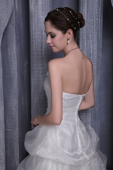 Strapless A-line Organza Wedding Dress