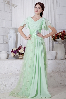 V-Neckline Short Sleeves Sage Colored Prom Dress With Lace