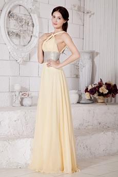 Jewel Neckline Yellow Chiffon Engagement Evening Dress With Beaded Sash