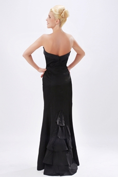 Sheath Floor Length Black Satin Prom Party Dress