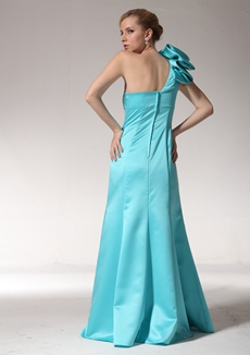 One Shoulder Jade Green Satin Bridesmaid Dress