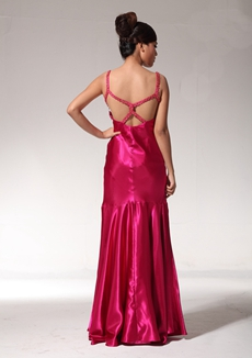 Lovely A-line Fuchsia Satin Formal Evening Dress With Beads