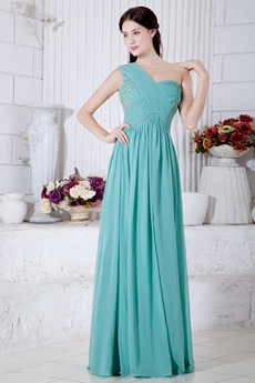 Breathtaking One Straps Jade Green Chiffon Engagement Evening Dress
