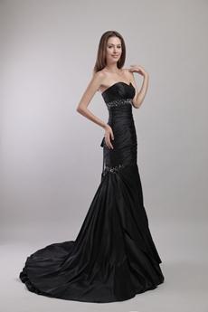 Retro Black Mermaid Gothic Wedding Dress