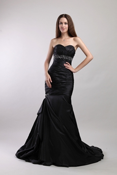 Retro Black Mermaid Gothic Wedding Dress