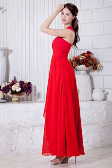 Ankle Length Red Chiffon One Shoulder High School Graduation Dress