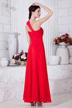 Ankle Length Red Chiffon One Shoulder High School Graduation Dress