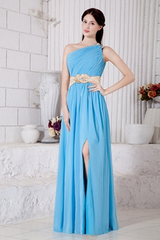 Lovely One Shoulder Blue High School Graduation Dress