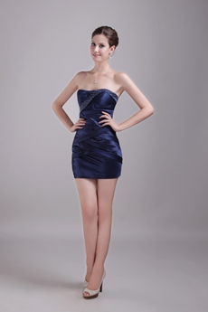 Chic Mini Length Dark Navy Cocktail Dress With Beads