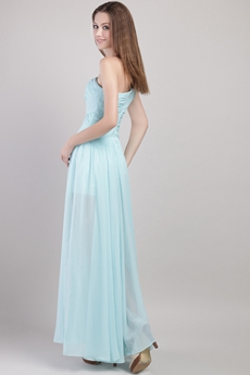 One Shoulder Tiffany Blue Graduation Dress For High School