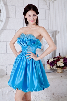 Lovely Mini Length Blue Damas Dress With Beads