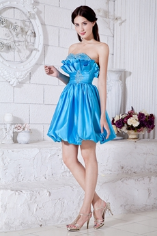 Lovely Mini Length Blue Damas Dress With Beads
