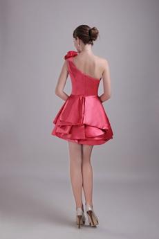 Cute One Straps Mini Length Watermelon Satin Sweet Sixteen Dress