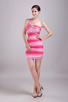 Hot One Straps Sheath Multi Colored Cocktail Dress