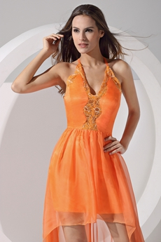 Backless A-line Orange Chiffon High Low Prom Dress