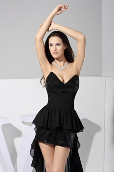 Sexy V-Neckline Black High Low Prom Dress With Sequins