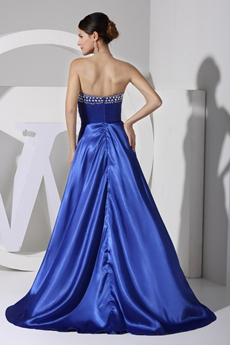 Chic Royal Blue Satin High Low Prom Dress
