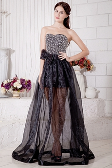 Luxury Beaded Black Prom Party Dress