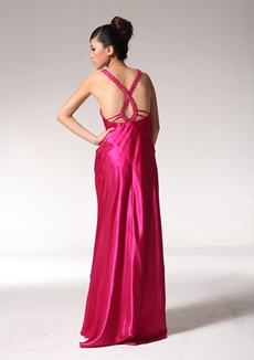 High Low Fuchsia Graduation Dress With Beads