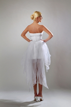 High Low Organza White Cocktail Dress