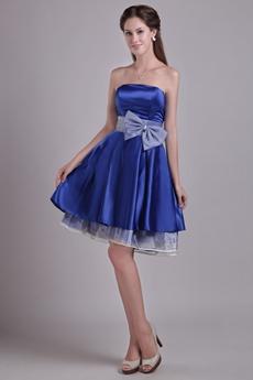 Knee Length Royal Blue Satin Graduation Dress With Bowknot