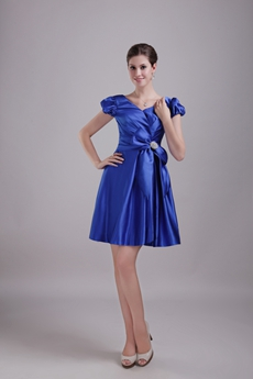 V-Neckline Mini Length Royal Blue Wedding Guest Dress