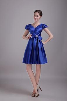 V-Neckline Mini Length Royal Blue Wedding Guest Dress