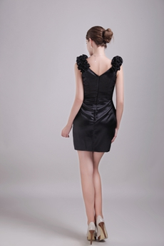 V-Neckline Mini Length Black Cocktail Dress