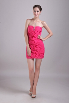 Cute Fuchsia Cocktail Dress With Bowknot