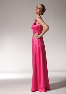 Impressive Straps A-line Hot Pink Satin Bridesmaid Dress